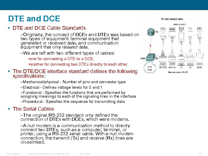 DTE and DCE § DTE and DCE Cable Standards –Originally, the concept of DCEs