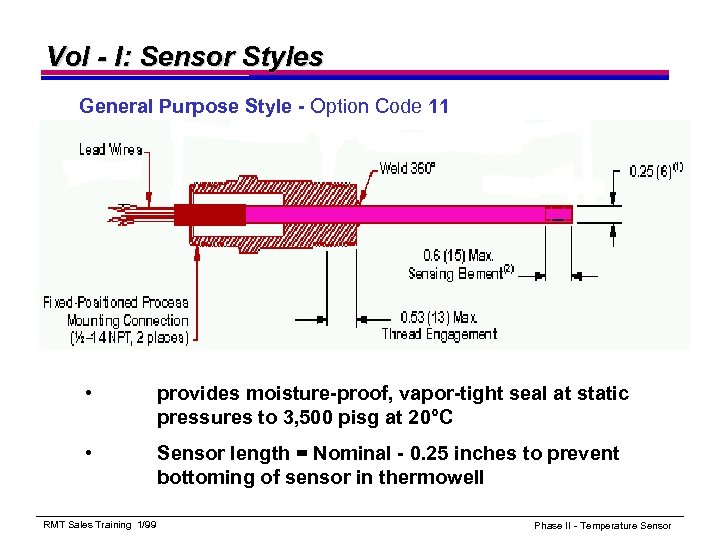 Vol - I: Sensor Styles General Purpose Style - Option Code 11 • provides