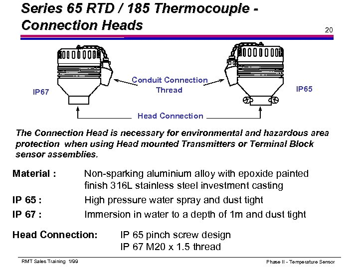Series 65 RTD / 185 Thermocouple Connection Heads Conduit Connection Thread IP 67 20