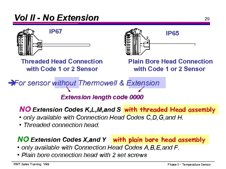 Vol II - No Extension 29 IP 67 Threaded Head Connection with Code 1