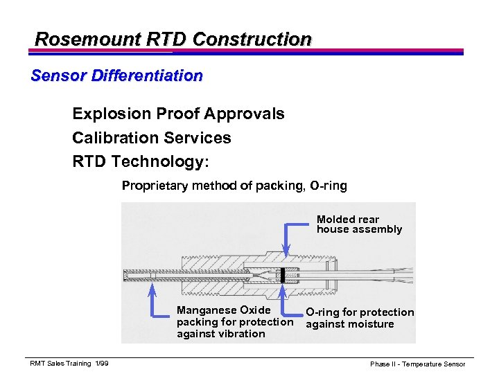 Rosemount RTD Construction Sensor Differentiation Explosion Proof Approvals Calibration Services RTD Technology: Proprietary method