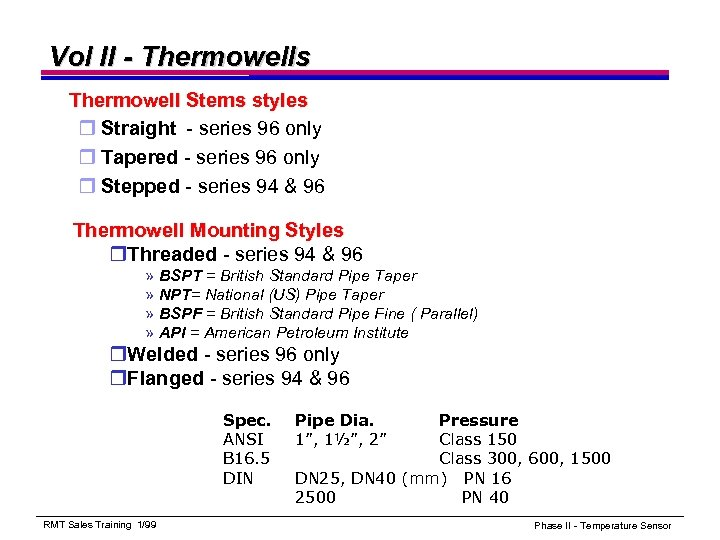 Vol II - Thermowells Thermowell Stems styles r Straight - series 96 only r