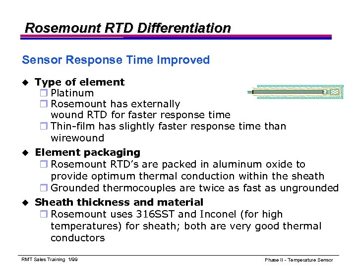 Rosemount RTD Differentiation Sensor Response Time Improved Type of element r Platinum r Rosemount
