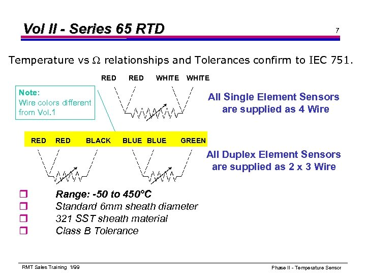 Vol II - Series 65 RTD 7 Temperature vs relationships and Tolerances confirm to