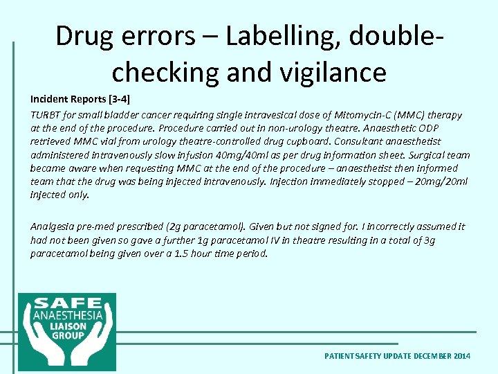 Drug errors – Labelling, doublechecking and vigilance Incident Reports [3 -4] TURBT for small