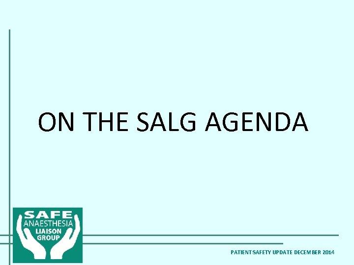 ON THE SALG AGENDA PATIENT SAFETY UPDATE DECEMBER 2014
