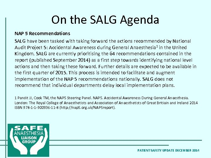 On the SALG Agenda NAP 5 Recommendations SALG have been tasked with taking forward
