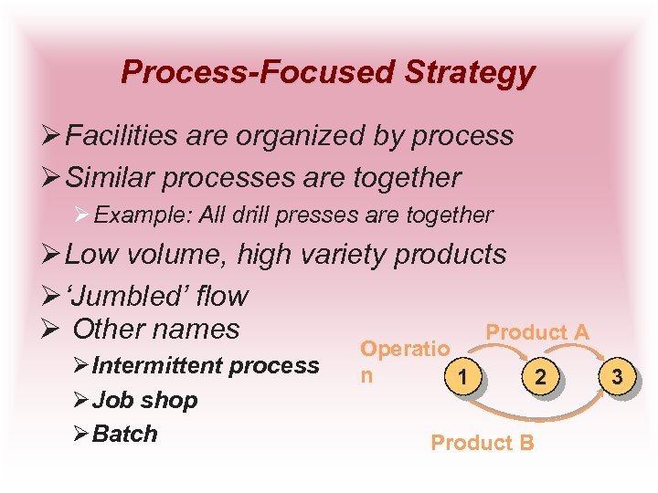 Process-Focused Strategy Ø Facilities are organized by process Ø Similar processes are together Ø