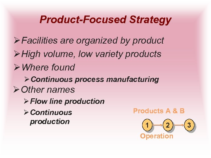 Product-Focused Strategy Ø Facilities are organized by product Ø High volume, low variety products