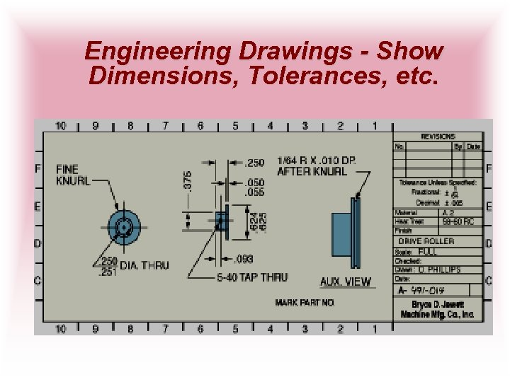 Engineering Drawings - Show Dimensions, Tolerances, etc.