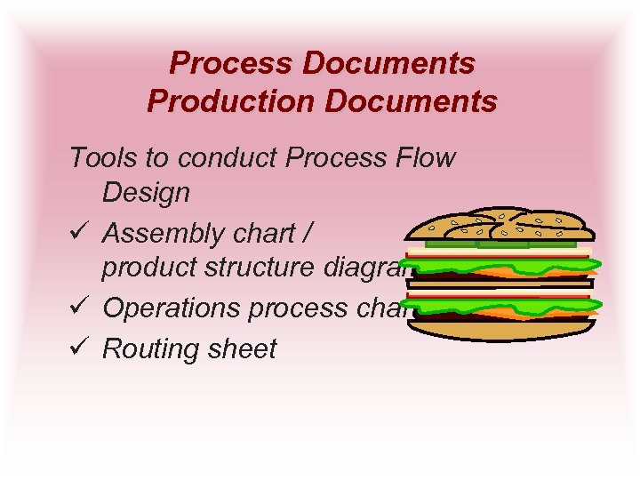 Process Documents Production Documents Tools to conduct Process Flow Design ü Assembly chart /
