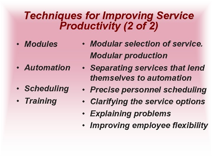 Techniques for Improving Service Productivity (2 of 2) • Modules • Automation • Scheduling
