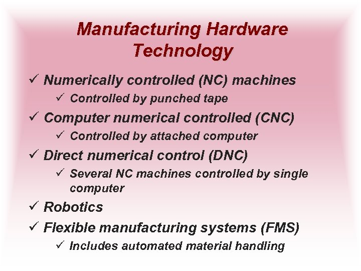 Manufacturing Hardware Technology ü Numerically controlled (NC) machines ü Controlled by punched tape ü