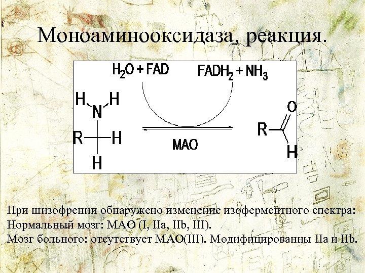 Моноаминооксидаза, реакция. При шизофрении обнаружено изменение изоферментного спектра: Нормальный мозг: MAO (I, IIa, IIb,