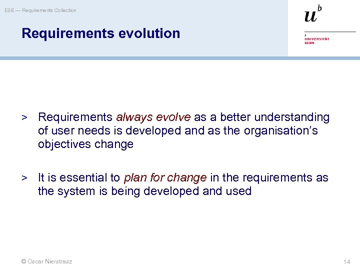 ESE — Requirements Collection Requirements evolution > Requirements always evolve as a better understanding