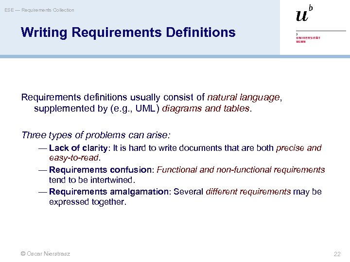 ESE — Requirements Collection Writing Requirements Definitions Requirements definitions usually consist of natural language,
