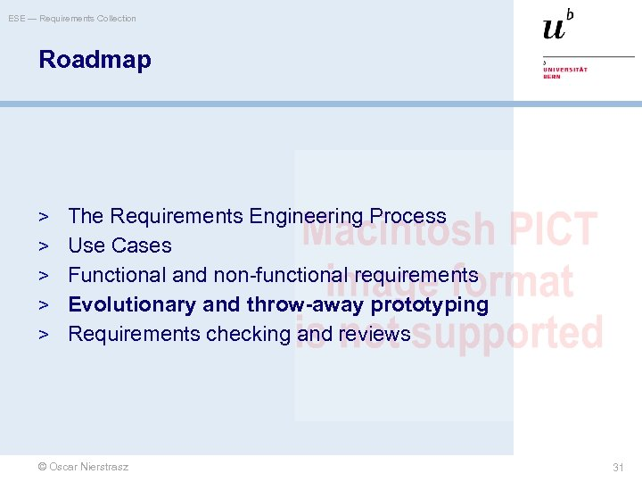 ESE — Requirements Collection Roadmap > The Requirements Engineering Process > Use Cases >