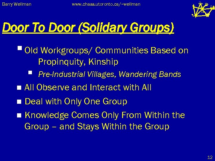 Barry Wellman www. chass. utoronto. ca/~wellman Door To Door (Solidary Groups) § Old Workgroups/