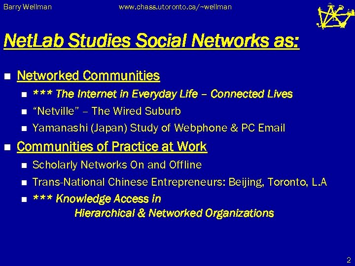 Barry Wellman www. chass. utoronto. ca/~wellman Net. Lab Studies Social Networks as: n Networked