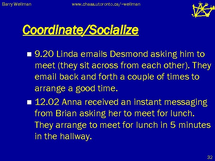 Barry Wellman www. chass. utoronto. ca/~wellman Coordinate/Socialize 9. 20 Linda emails Desmond asking him