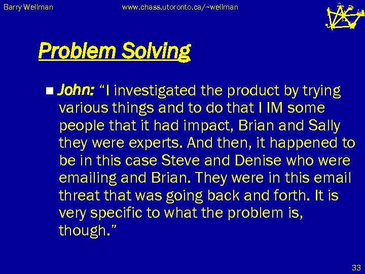 "Barry Wellman www. chass. utoronto. ca/~wellman Problem Solving n John: ""I investigated the product"