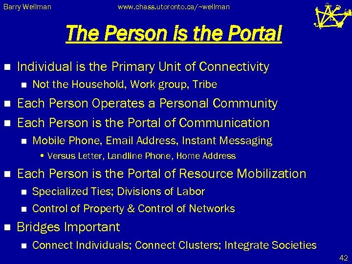 Barry Wellman www. chass. utoronto. ca/~wellman The Person is the Portal n Individual is
