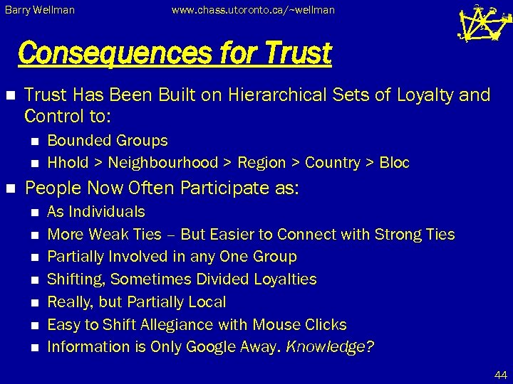Barry Wellman www. chass. utoronto. ca/~wellman Consequences for Trust n Trust Has Been Built