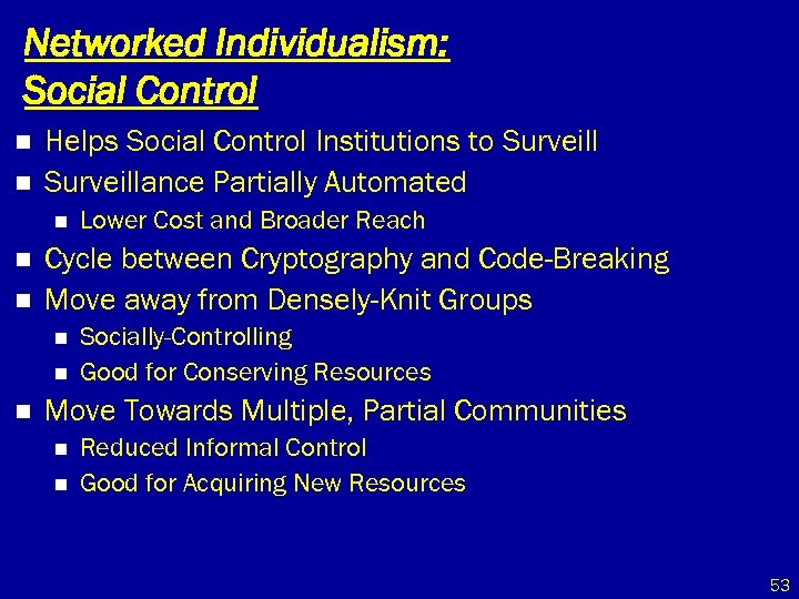 Networked Individualism: Social Control n n Helps Social Control Institutions to Surveillance Partially Automated