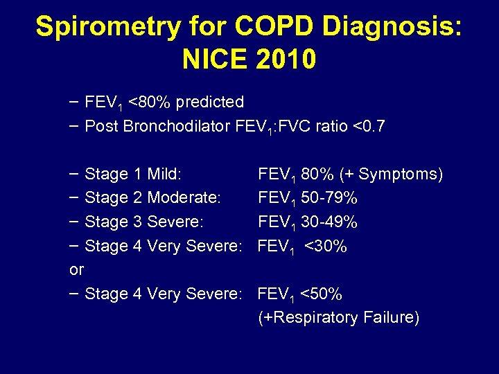 Spirometry for COPD Diagnosis: NICE 2010 – FEV 1 <80% predicted – Post Bronchodilator
