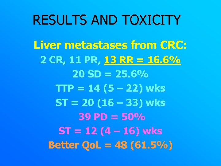 RESULTS AND TOXICITY Liver metastases from CRC: 2 CR, 11 PR, 13 RR =