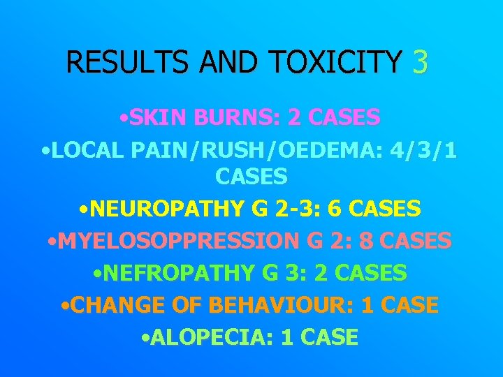 RESULTS AND TOXICITY 3 • SKIN BURNS: 2 CASES • LOCAL PAIN/RUSH/OEDEMA: 4/3/1 CASES