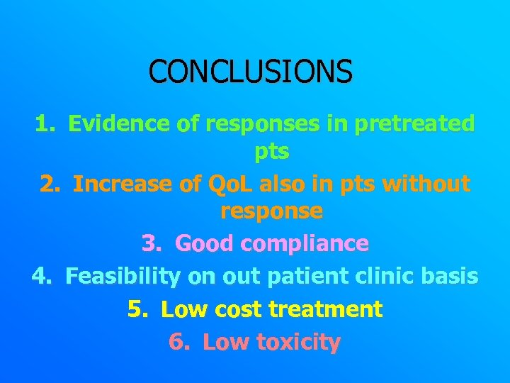 CONCLUSIONS 1. Evidence of responses in pretreated pts 2. Increase of Qo. L also