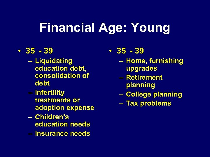 Financial Age: Young • 35 - 39 – Liquidating education debt, consolidation of debt