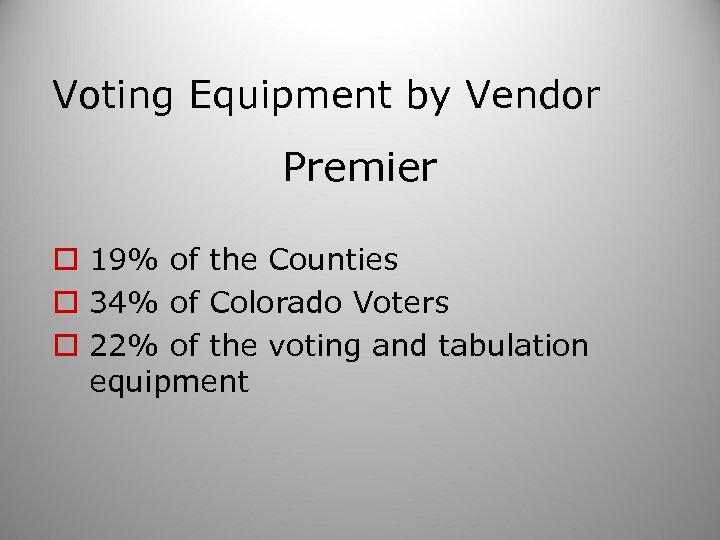 Voting Equipment by Vendor Premier o 19% of the Counties o 34% of Colorado
