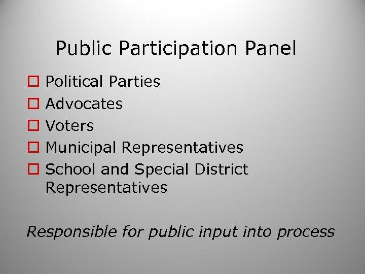 Public Participation Panel o o o Political Parties Advocates Voters Municipal Representatives School and
