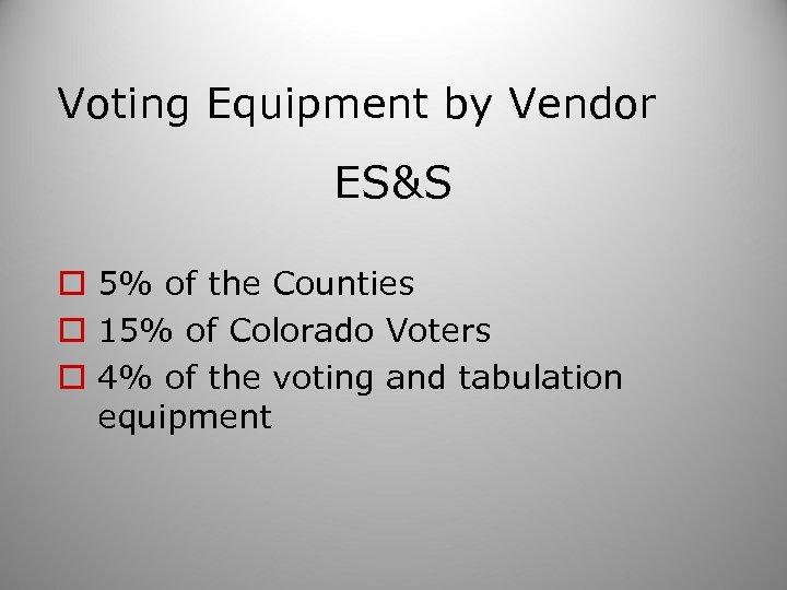 Voting Equipment by Vendor ES&S o 5% of the Counties o 15% of Colorado