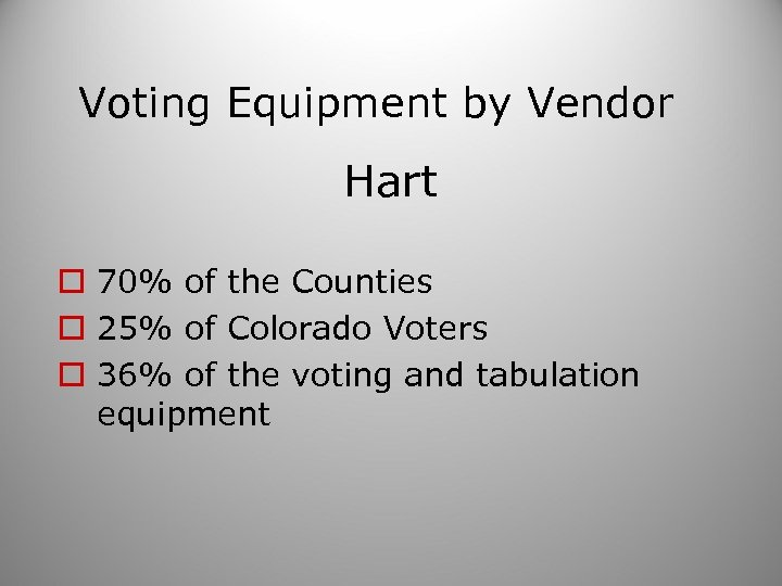 Voting Equipment by Vendor Hart o 70% of the Counties o 25% of Colorado