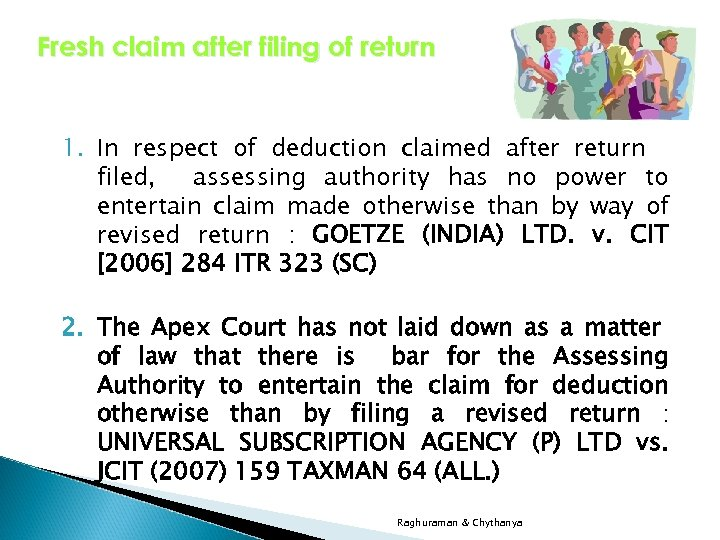 Fresh claim after filing of return 1. In respect of deduction claimed after return