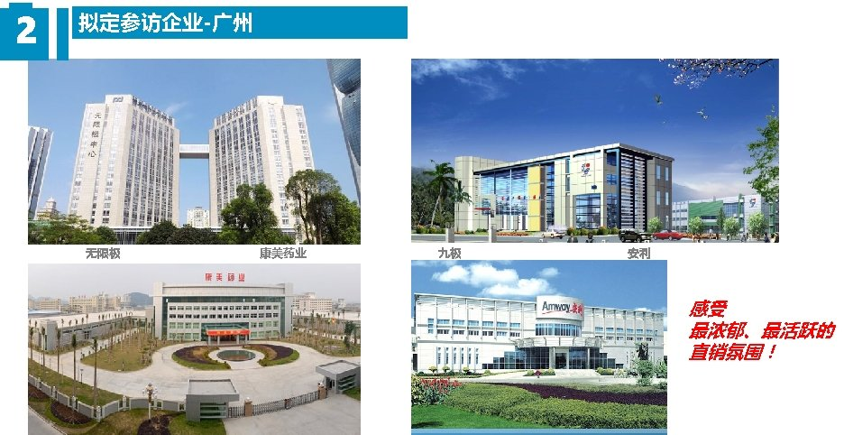 2 拟定参访企业-广州 无限极 康美药业 九极 安利 感受 最浓郁、最活跃的 直销氛围!