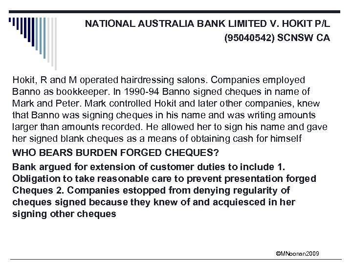 NATIONAL AUSTRALIA BANK LIMITED V. HOKIT P/L (95040542) SCNSW CA Hokit, R and M