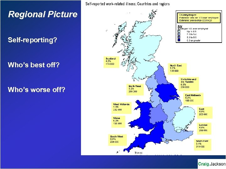 Regional Picture Self-reporting? Who's best off? Who's worse off?