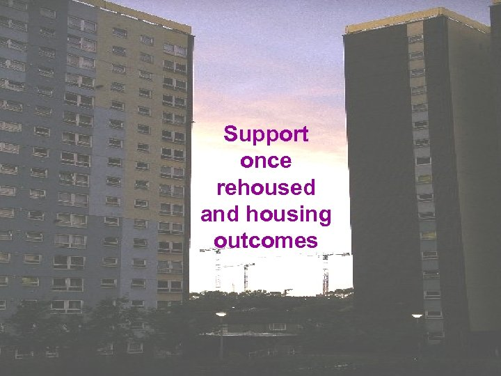 Support once rehoused and housing outcomes