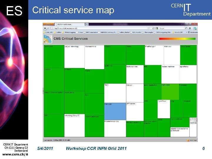 ES CERN IT Department CH-1211 Geneva 23 Switzerland www. cern. ch/it Critical service map