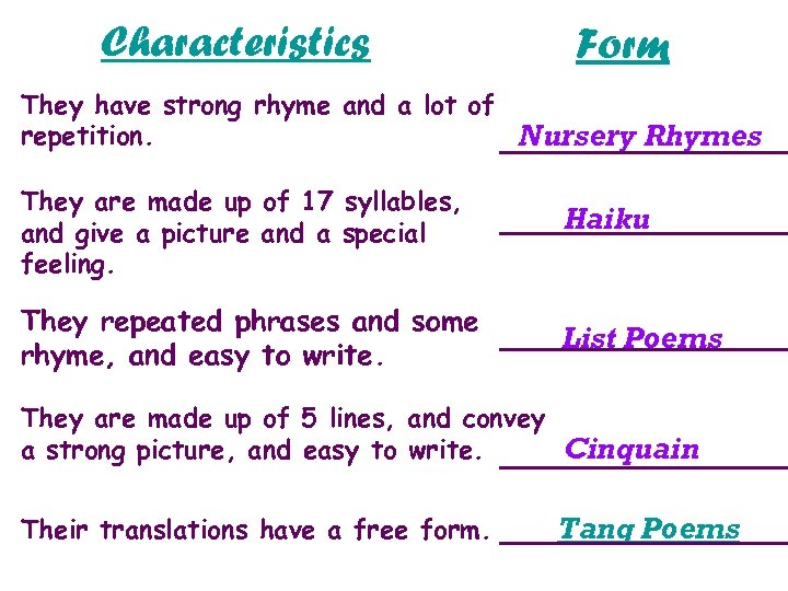 Characteristics Form They have strong rhyme and a lot of repetition. Nursery Rhymes They
