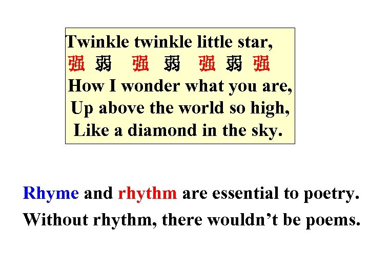 Twinkle twinkle little star, 强 弱 强 弱 强 How I wonder what you are,