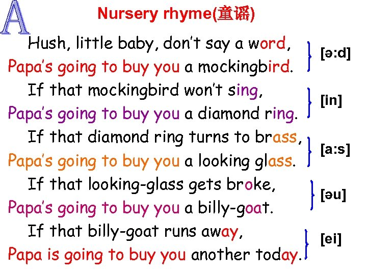 Nursery rhyme(童谣) Hush, little baby, don't say a word, Papa's going to buy you