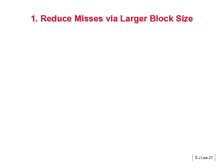 1. Reduce Misses via Larger Block Size S. J. Lee 27