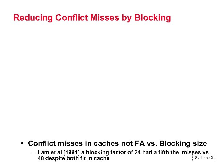 Reducing Conflict Misses by Blocking • Conflict misses in caches not FA vs. Blocking