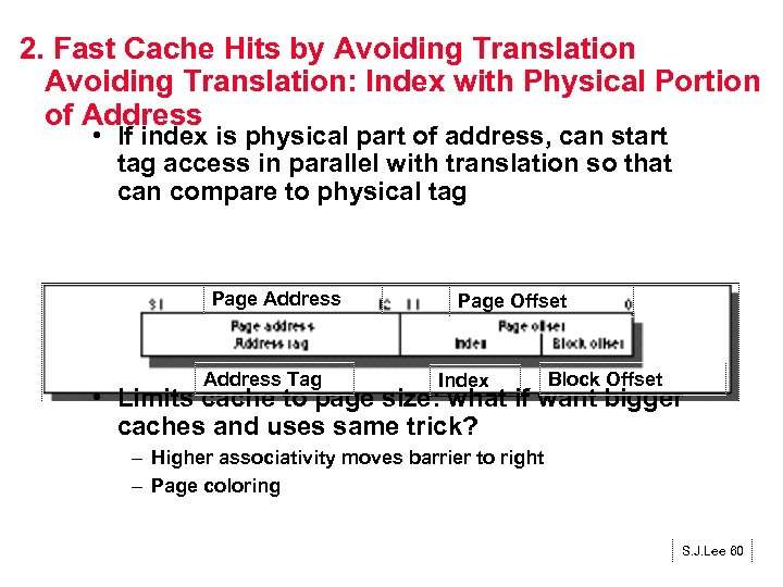 2. Fast Cache Hits by Avoiding Translation: Index with Physical Portion of Address •