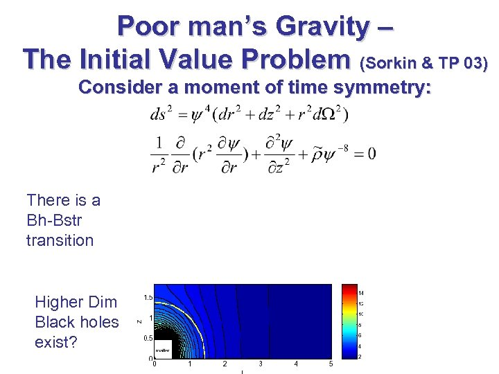 Poor man's Gravity – The Initial Value Problem (Sorkin & TP 03) Consider a